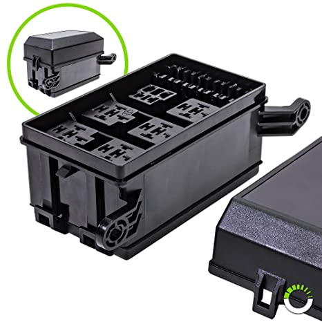 ONLINE LED STORE 12-Slot Relay Box [6 Relays] [6 Blade Fuses] [Bosch on
