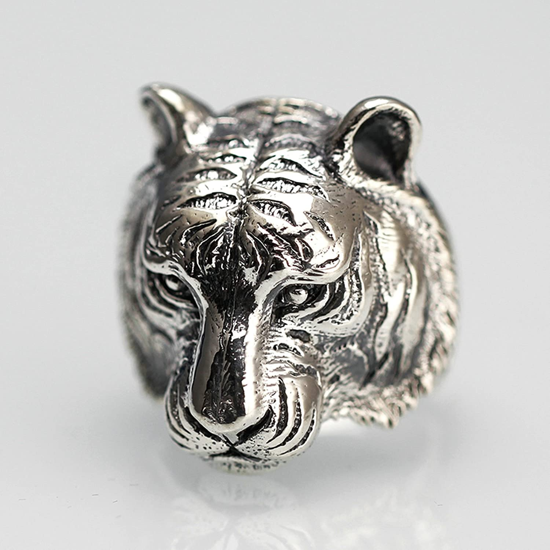 Epinki 925 Sterling Silver Punk Rock Vintage Gothic Tiger Head Ring for Men Fashion Men Accessories