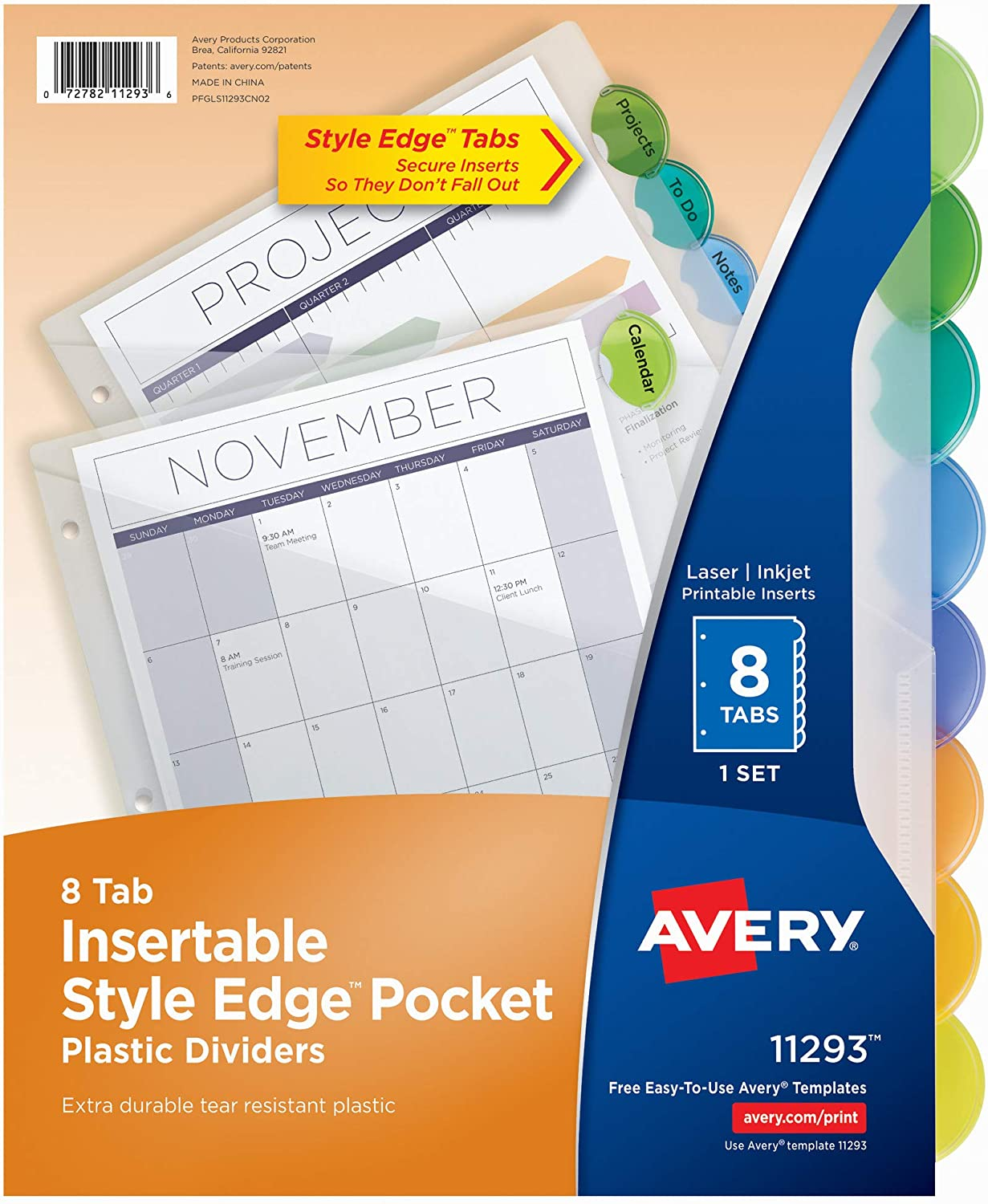 Avery Plastic 8-Tab Binder Dividers with Pockets, Style Edge Insertable Multicolor Tabs, 1 Set (11293)