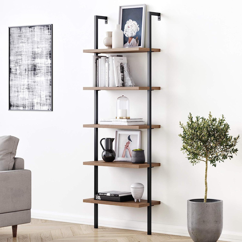 Nathan James Theo 5-Shelf Oak Wood Modern Bookcase, Open Wall Mount Ladder Bookshelf with Industrial Black Metal Frame