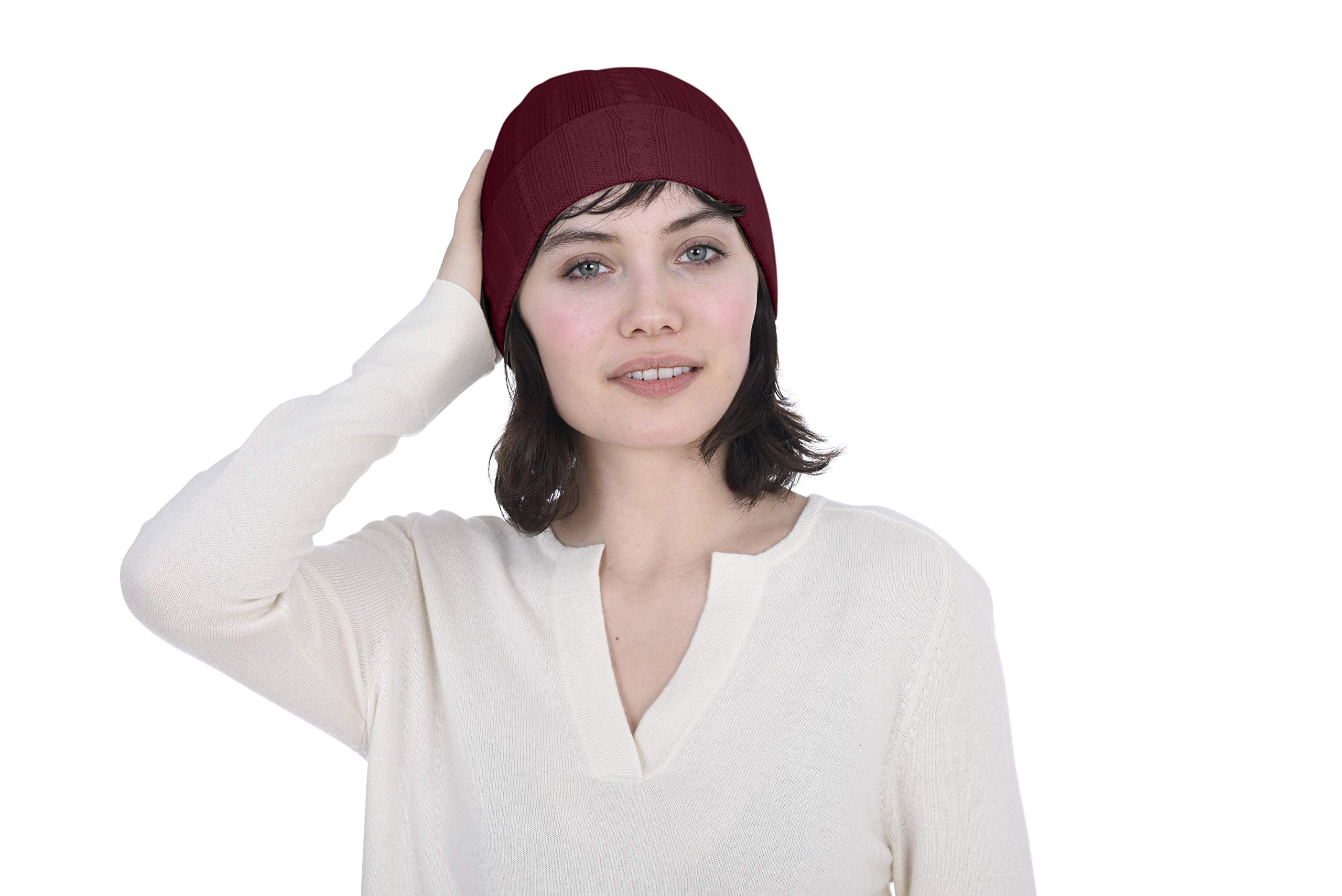 Cashmeren 100% Pure Cashmere Cable Knit Beanie Hat - Ultimate Soft, Warm and Cozy (Burgundy, One Size)