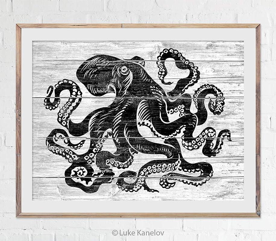 Octopus art print Antique prints old prints Nautical art print Ocean Decor Natural History art print vintage nature print Home decor wall