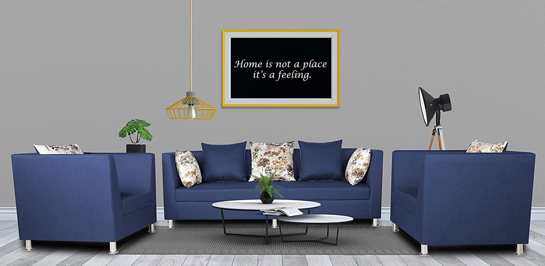 Adorn India Alica 3-1-1 5 Seater Sofa Set(Blue)