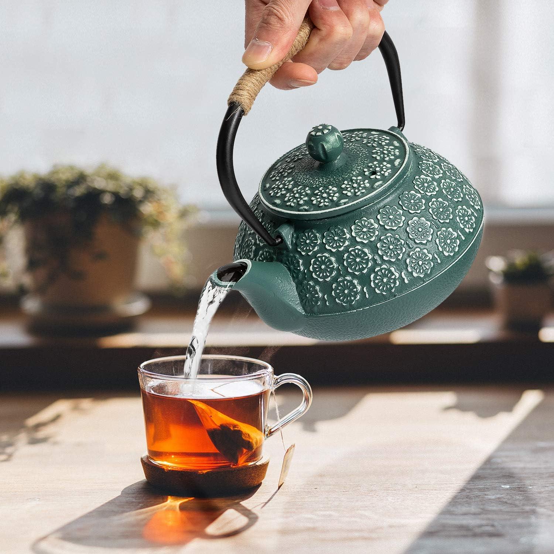 Tetsubin Japanese Tea Kettle 900ml, Dark Green SUSTEAS Cast Iron Teapot