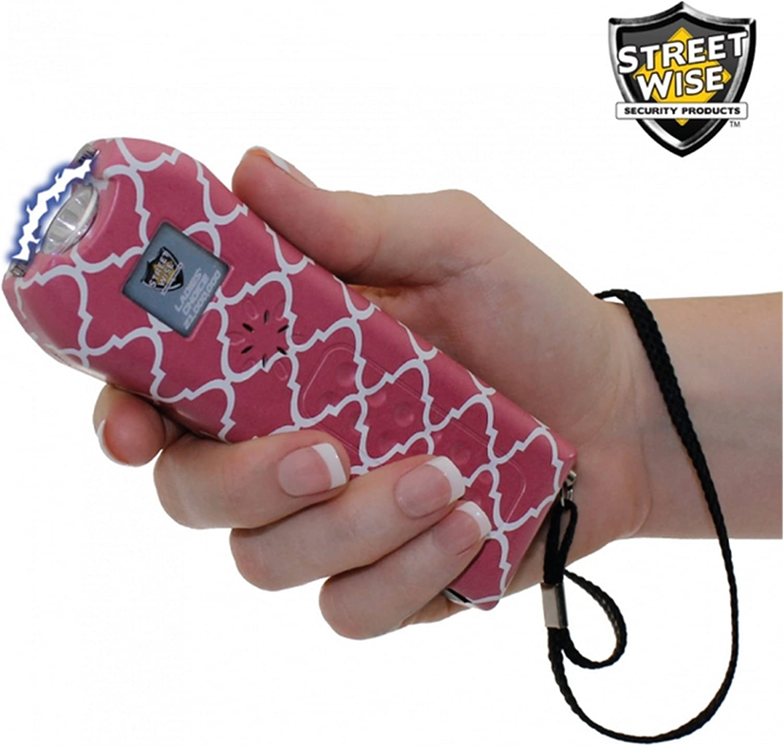 StreetWise Ladies Choice 21 Million Volt Rechargeable Stun Gun with Alarm and Flashlight, Pink Stripe