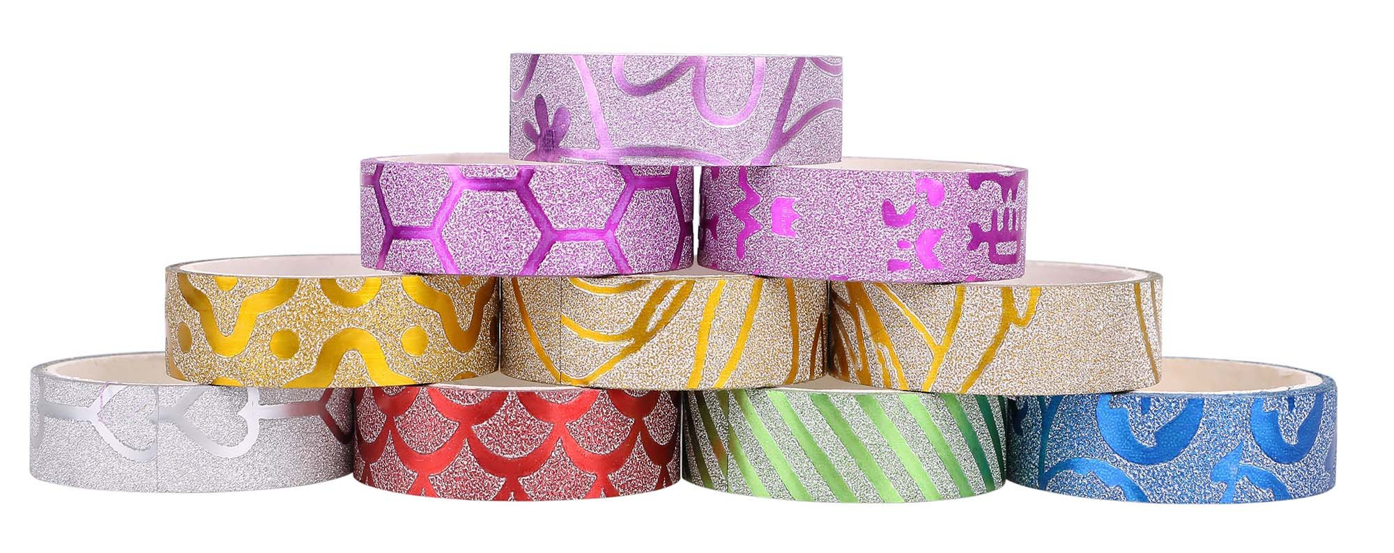 20 Pack Glitter Washi Masking/Craft Tape Set, For Bullet Journal, Decoration, Gift Wrapping, and DIY
