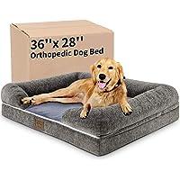 Kastty - Cama grande para perro, sofá cama para perro, espuma ortopédica de memoria, largo de piel sintética en forma de…