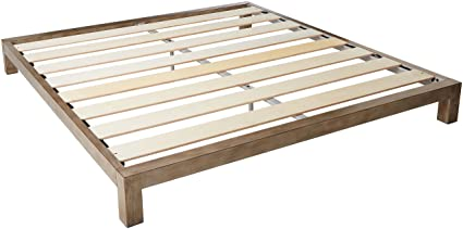 In Style Furnishings Aura Modern Metal Low Profile Thick Slats Support  Platform Bed Frame   King