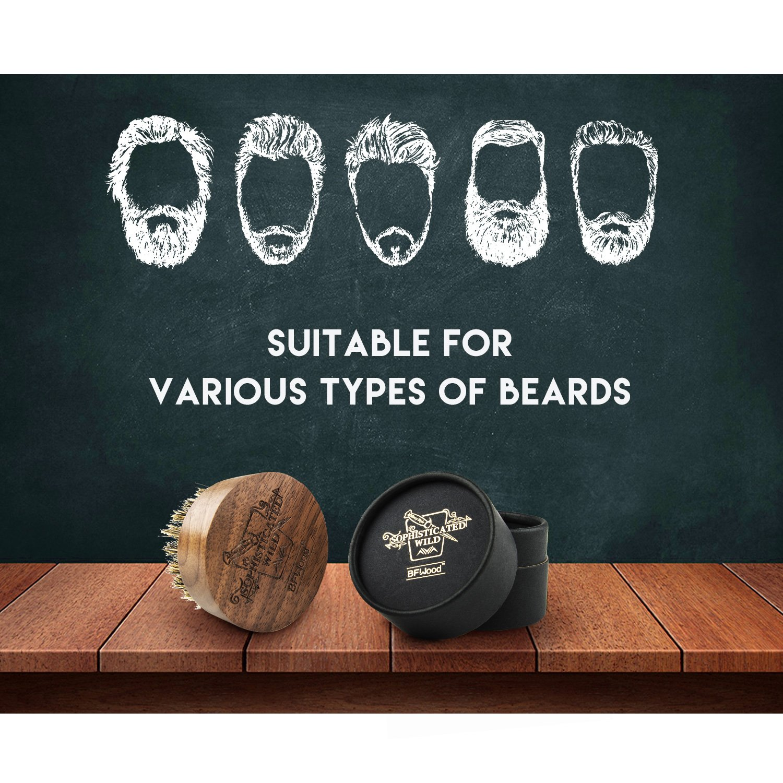 Black Walnut BFWood Beard Brush Boar Bristles Small Round Shape