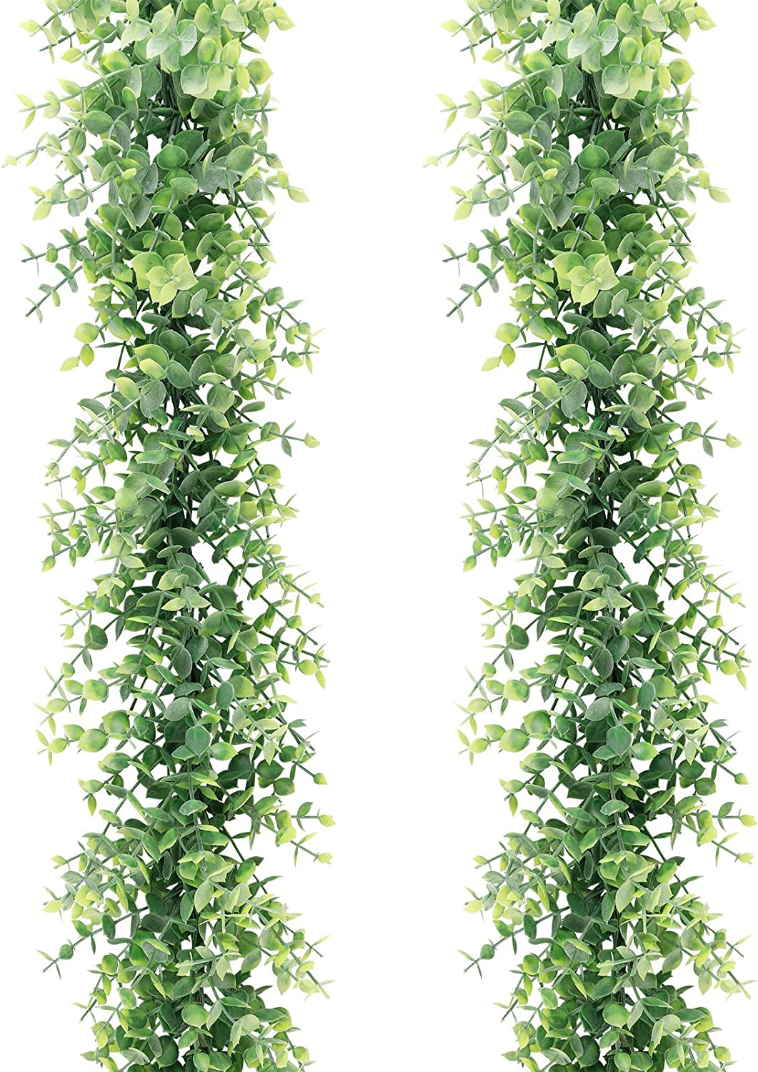 COCOBOO 2 Pack Artificial Eucalyptus Garland, Artificial Vines Faux Eucalyptus Greenery Garland Wedding Backdrop Arch Wall Decor, 6 Feet/pcs Fake Boxwood Hanging Plant