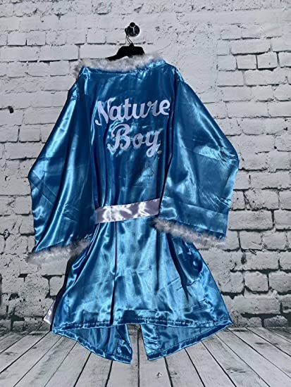 JSA Nature Boy Ric Flair Signed Blue Feathered Wrestling Robe Nature Boy Insc