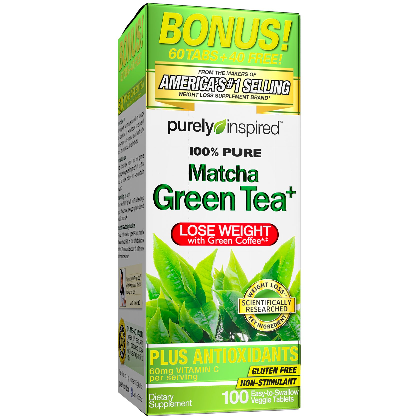 Purely Inspired Matcha Green Tea, Green Tea Extract, 100% Green Tea, 100 Count