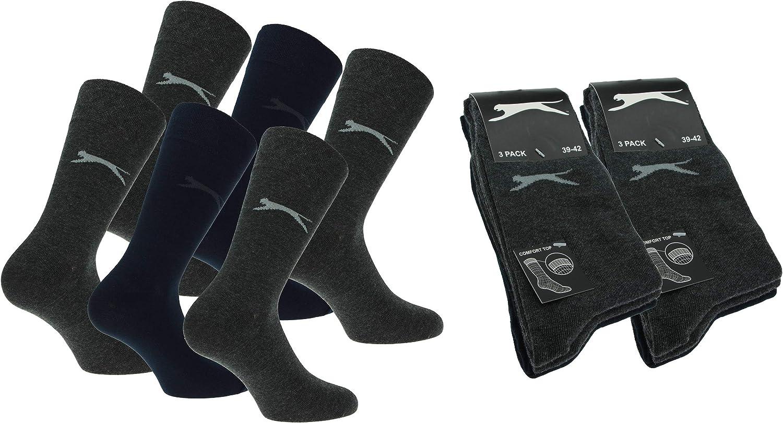 Slazenger 6 pares de calcetines el/ásticos c/ómodos para hombre Altura media de la pantorrilla algod/ón suave de alta calidad Lycra de fibra el/ástica