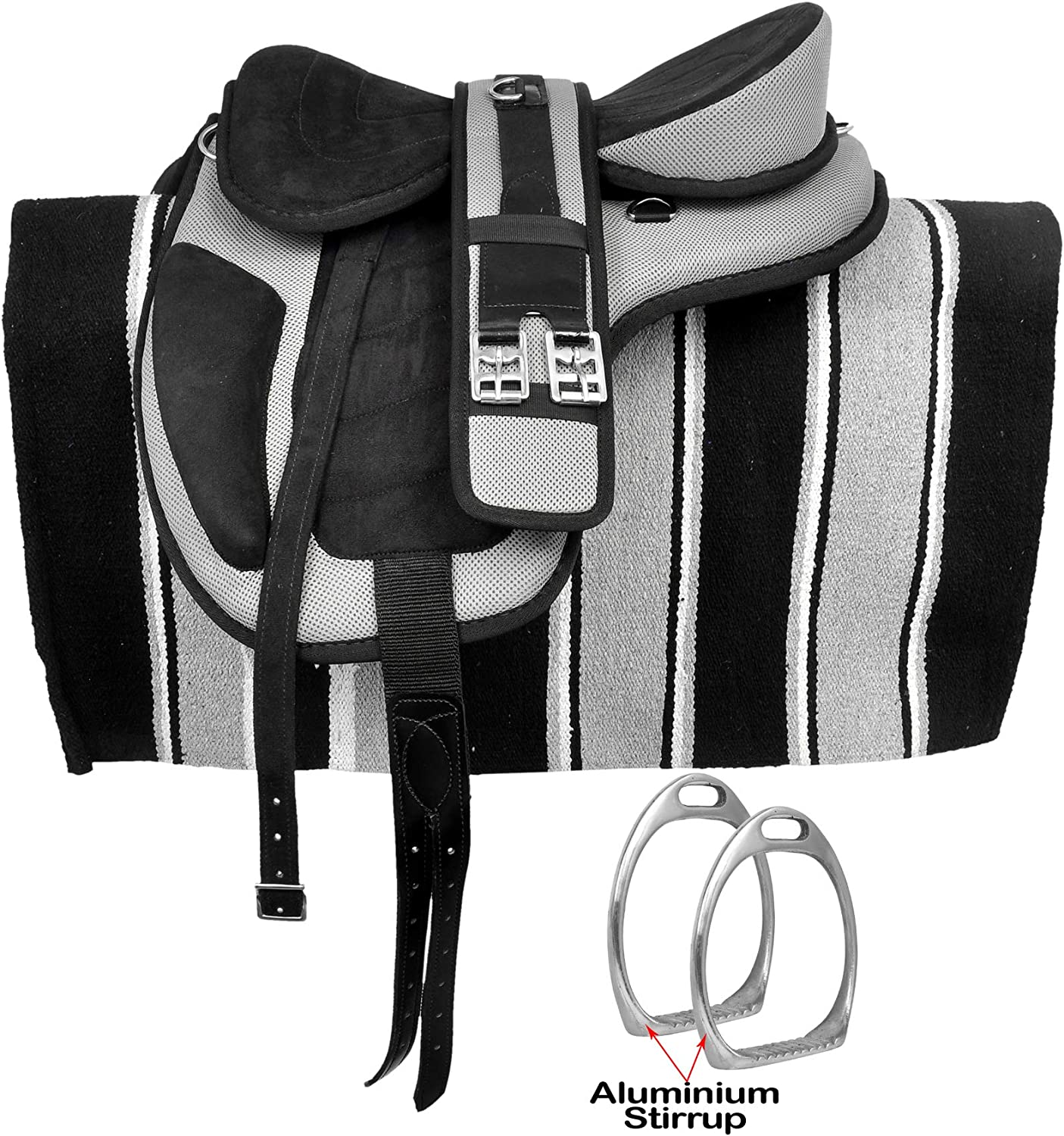 Size 14 to 18 Inch Seat Available Leather Straps Free Matching Girth Navajo Saddle Pad Aluminium Stirrup Manaal Enterprises Synthetic Treeless FREEMAX English Horse Saddles Tack 16 Inches Seat