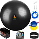 Exercise Ball Stability Excersize Balls | Best Professional Fitness Balance Anti-Burst Set – Yoga Large Thick Ball With Pump & Accessories, Extra Pin For Valve, Elastic Loop & Hard Cover Workout Guide
