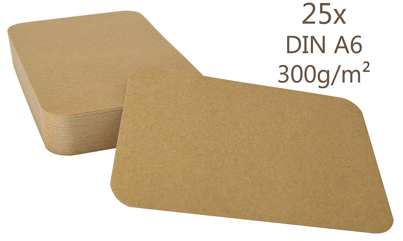 25er Pack Kraftpapier Kraftkarton A6 Karte 300g//m/² Bastelkarton braun runde Ecken