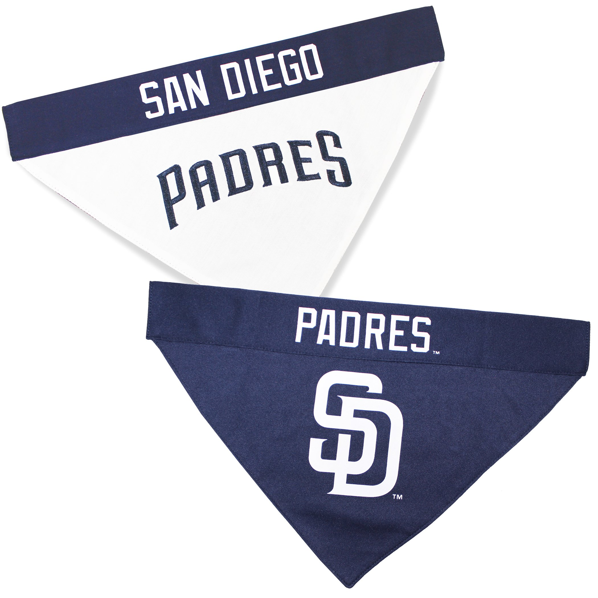 Pets First PAD-3217-L-XL MLB San Diego Padres Reversible Pet Bandana, Large/X-Large, MLB Team Color by Pets First (Image #1)