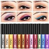 Glitter Liquid Eyeliner, Coosa 12 Colors Long Lasting Waterproof Shimmer Eyeliners (12PCS-A)…