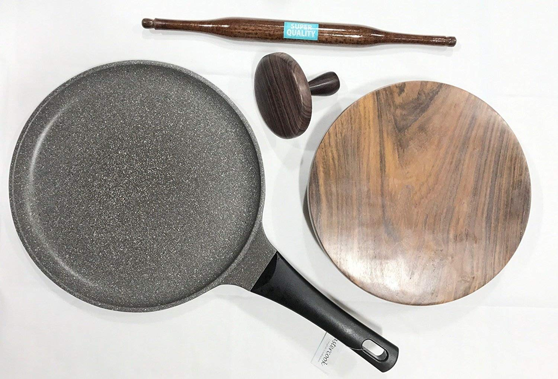 Deluxe Rose Wood Indian Chapati Roti Making Set, Tawa, Fluffer, Rolling Pin and Board Indiabazaar