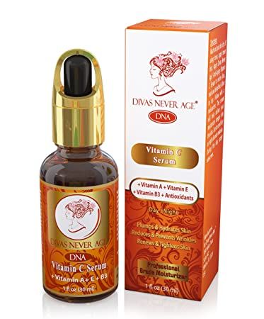 Divas Never Age Vitamin C Serum Vitamin A Vitamin E Vitamin B3 Antioxidants, 1 Ounce