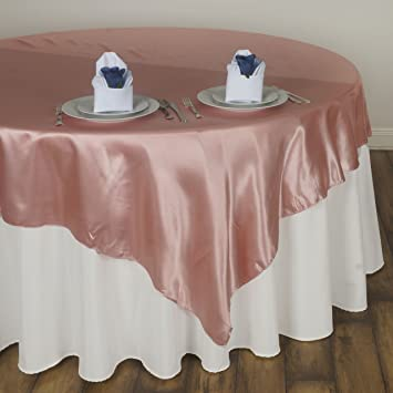 BalsaCircle 72x72u0026quot; Square SATIN Table Overlays Linens   Mauve