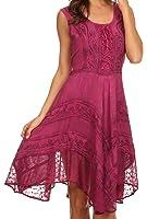 Sakkas Sundara Stonewashed Rayon Embroidered Mid Length Dress Pink 1X-2X