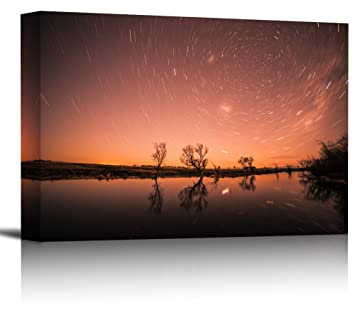 Amazon com: Milky Way Star Trails Lake Art Print Wall Decor Image