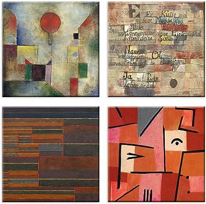 Luxhomedecor Lot De 4 Tableaux Paul Klee 30 X 30 Cm Impression Sur Toile Avec Cadre En Bois Art Decoration Amazon Fr Cuisine Maison