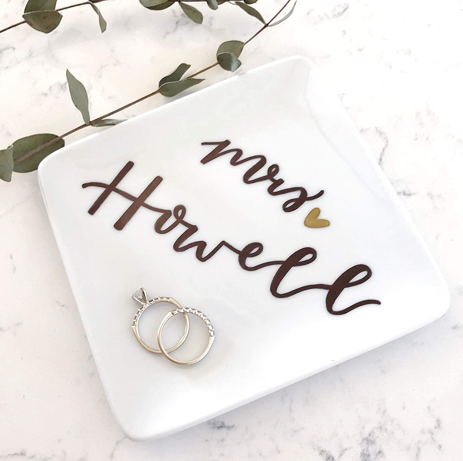 Custom Square Jewelry Tray for Wedding Gift Personalized Mrs Ring Dish with Last Name
