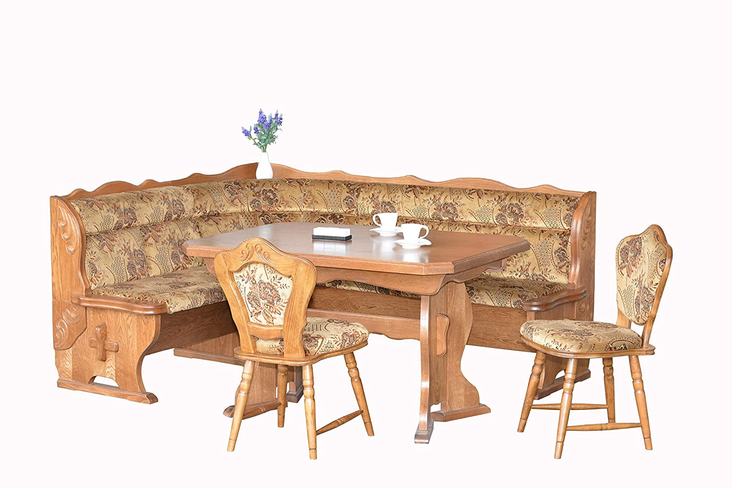 European Dining Furniture Set Breakfast Nook Bench Made From Oak 4 Piece Corner Enjoy The Best Table Luxury