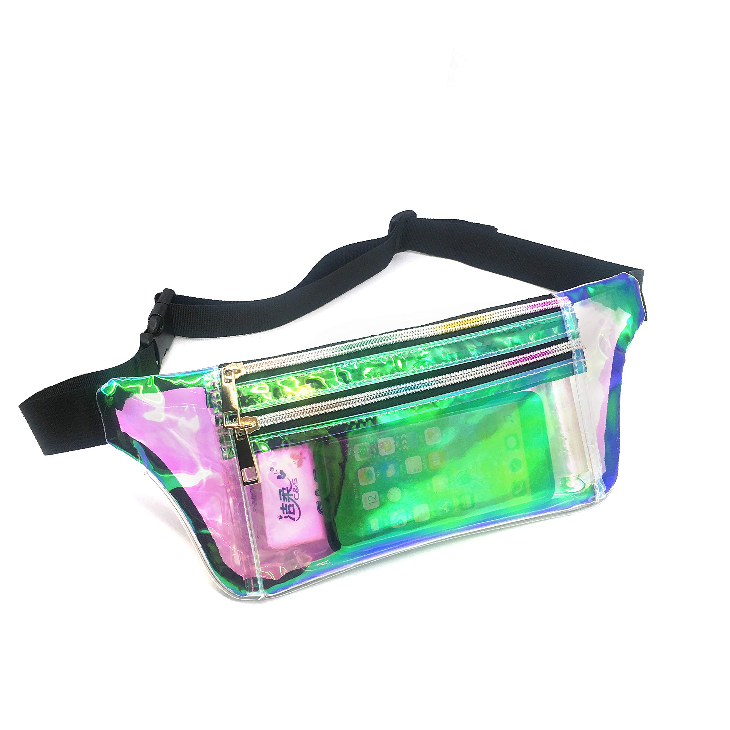 Dolores Holographic Flat Fanny Pack Clear Waist Bags for Women Men Stylish Iridescent Rave Festival Hip Fanny Pack Sport Bag Travel Wallet
