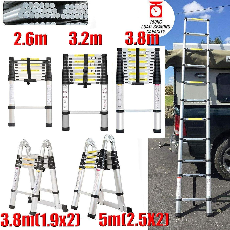 Teleskopleiter 5M Aluminium Tragbare Klappleiter Mehrzweck Kompakte Rutschfeste Sicherheitsleiter 150KG Max 2,5m + 2,5m Zuladung