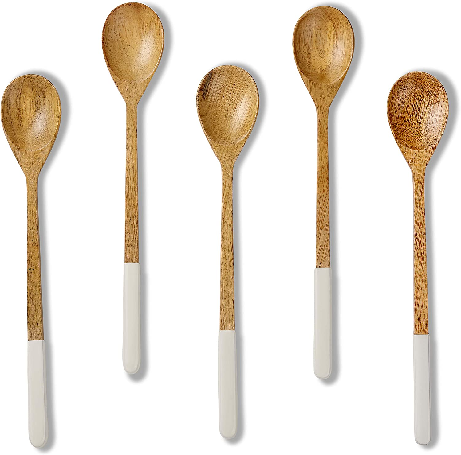 Folkulture Wooden Spoons for Cooking or Eating Soup or Rice, Mango Wood Mini Spoons for Korean or Japanese Meals, Small Wooden Spoons or Utensils for Mixing or Stirring, Set of 5, 9 inch, White