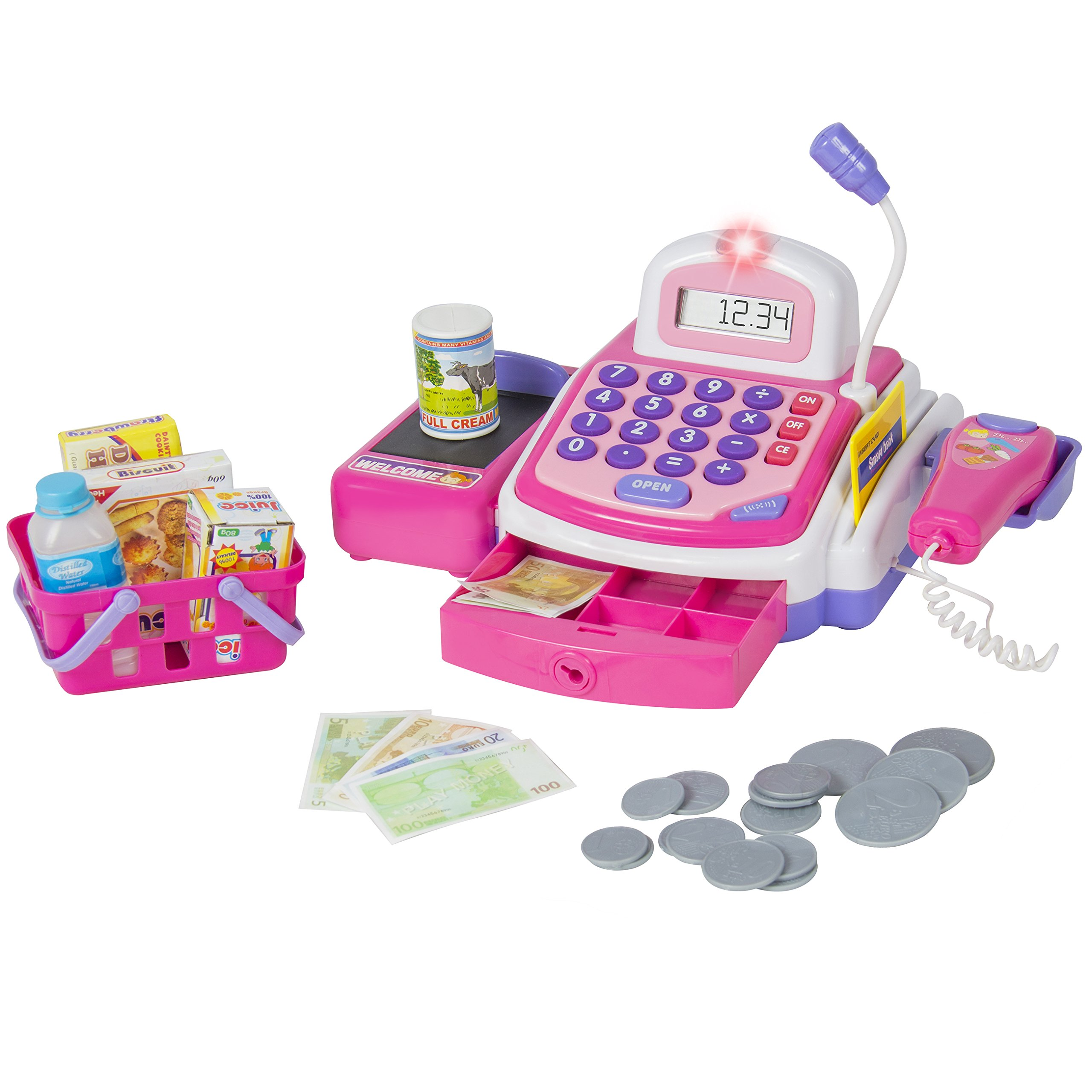 Best Choice Products Pretend Play Electronic Cash Register Toy w/ Realistic Actions and Sounds - Pink