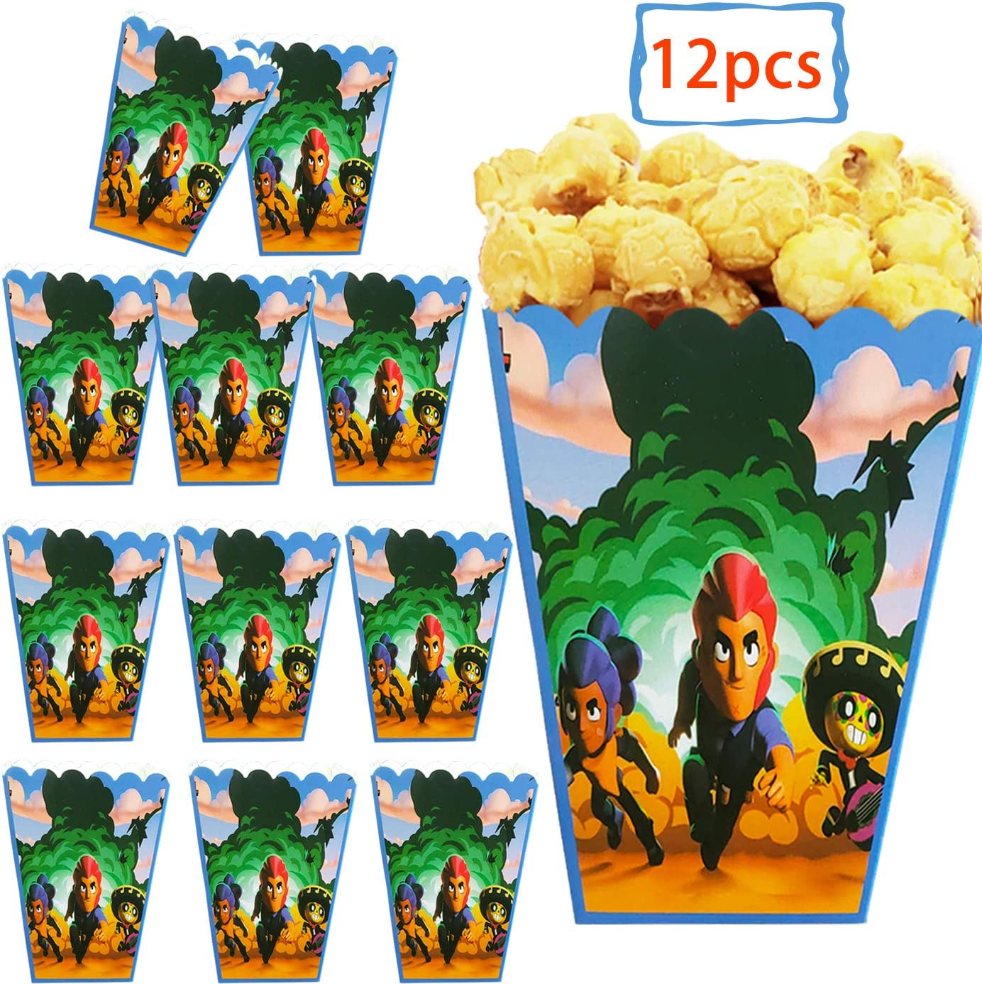 DAWEI 12pcs Brawl Stars Party Popcorn Boxes,Candy Container for Kids Birthday Party Supplies for Brawl Stars Themed