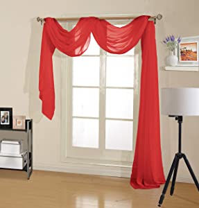 """Decotex Premium Quality Sheer Voile Scarf Valance for Home & Event Designs (54"""" X 216"""", Red)"""