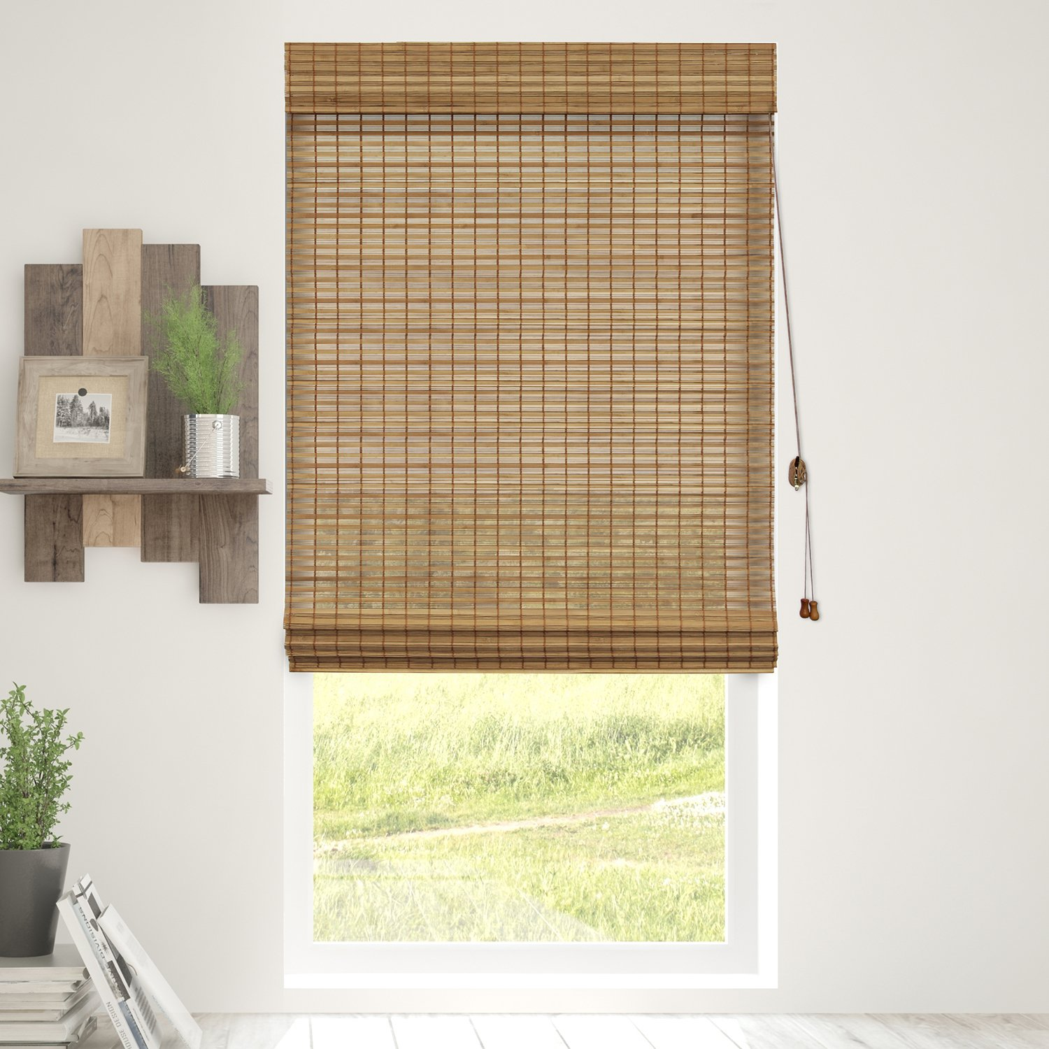 Chicology Bamboo Roman Shades / Wood Window Blind, Bamboo, Privacy - Squirrel, 36''W X 64''H