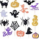 Halloween Cupcake Toppers Set, 28pcs sparkly set, Bat Witch Ghost Star, Baby Shower Food Picks Decor, Cupcake Halloween…