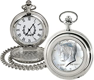 product image for Coin Pocket Watch with Quartz Movement | JFK Half Dollar | Genuine U.S. Coin | Sweeping Second Hand, Roman Numerals | Silvertone Case | Certificate of Authenticity