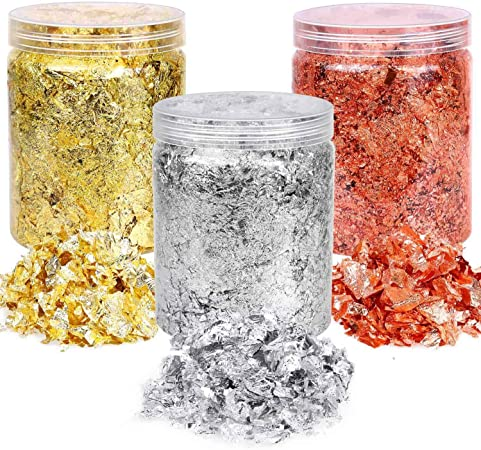 3 botellas de copos de oro para pintura Copos de l/ámina de oro para resina hojas met/álicas Sofecto limo y resina oro rosa, plata, oro para hacer joyas manualidades