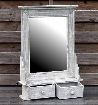 Bezaubernder Wandschrank Hängeschrank Küchenschrank Spiegelschrank  Badspiegel Spiegel Wandregal Und 2 Schubladen Grau/Weiß Landhaus Vintage