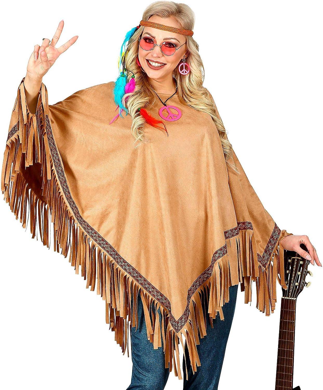 Hippie Poncho für Damen und Herren Deluxe NEU Herren Karneval Fasching Verklei