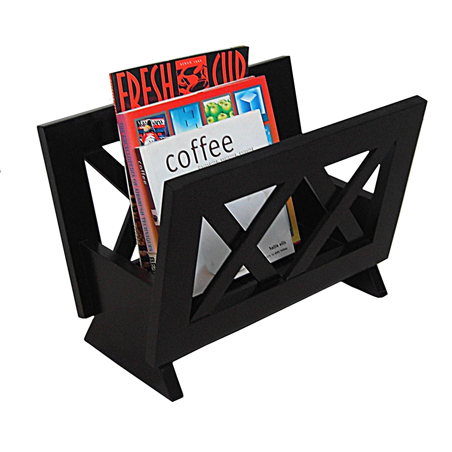 amazoncom oceanstar m contemporary solid wood magazine rack  - amazoncom oceanstar m contemporary solid wood magazine rack mahoganyfinished home  kitchen