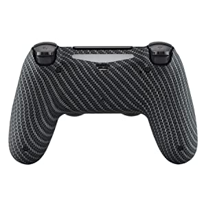 eXtremeRate Black Silver Carbon Fiber Bottom Shell, Soft Touch Back Housing Case Cover, Game Improvement Replacement Parts for Playstation 4 PS4 Slim Pro Controller JDM-040, JDM-050 and JDM-055 (Color: Demons and Monsters)