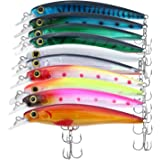Discover Fish Fishing Lures Bass Trout Muskie Minnow Mens Topwater Hard Plastic Swimbaits LifeLike Artificial Pro Fish Lure Baits with Treble Hooks for Freshwater Saltwater 4.5inch 0.5oz