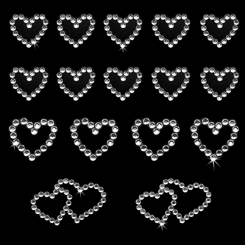 Pink Oblique Unique/® 16 St/ück Herz Sticker Strass Steine zum Verzieren oder Aufkleben
