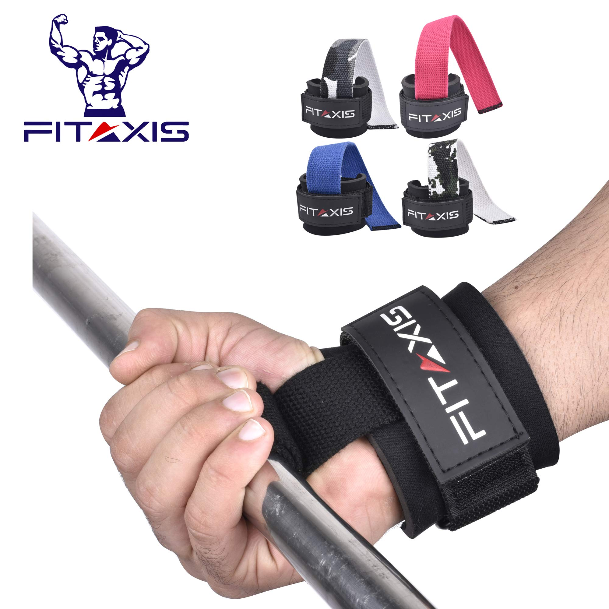 "FITAXIS Weight Lifting Straps 12"" Non-Slip Gel Grip, Wrist & forearms for Heavy Deadlift,Rows,Shrugs, Dumbbell, Squats,Pull-Up's (Black, 12"