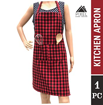 Pixel Home Cotton Apron100% Cotton Check Kitchen Apronwith Front Center Pocket Best…