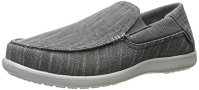 6508c0173 Crocs Men s Santa Cruz Ii Luxe Slub Slipon Slip-On Loafer Charcoal Light  Grey