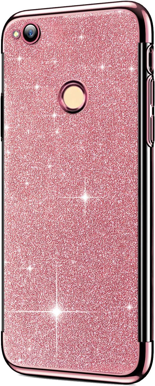 Felfy Coque Huawei Y6 2018,Huawei Y6 2018 Coque en Silicone Glitter Paillettes Strass Brillante Housse Etui de Protection Souple TPU Couverture Ultra Fine Antichoc T/él/éphone Bumper Case,Or
